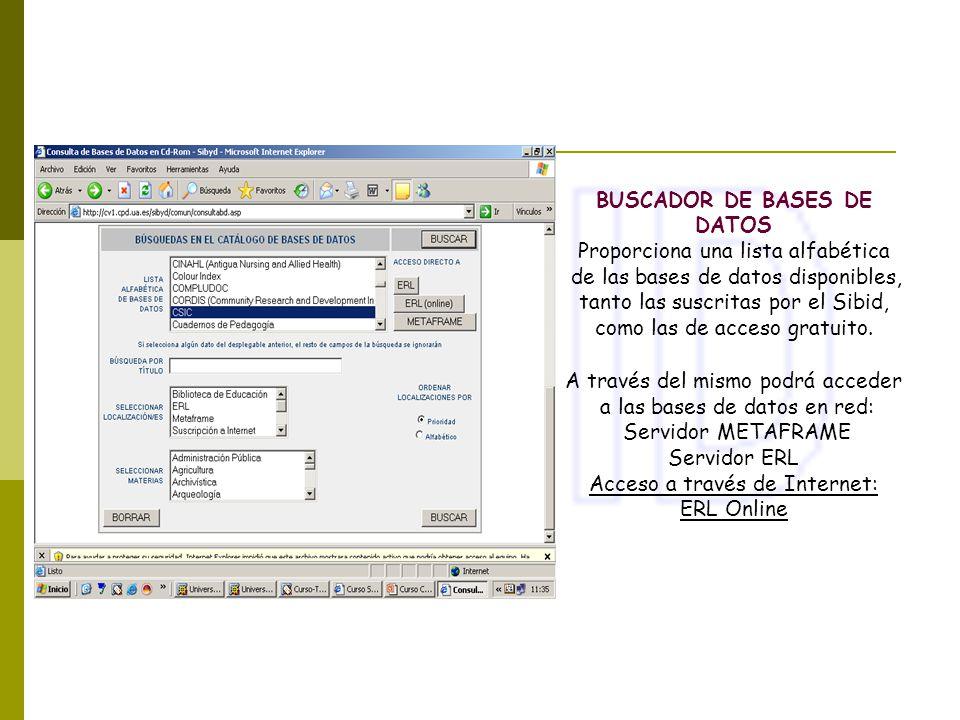 BUSCADOR DE BASES DE DATOS Proporciona una lista alfabética