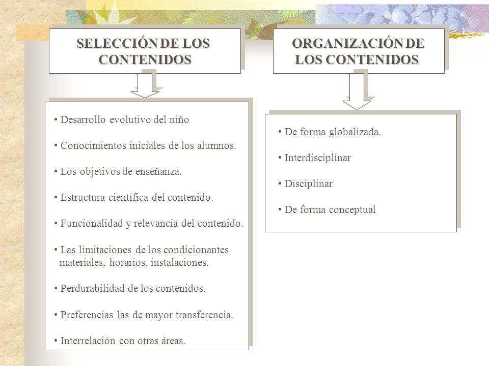 SELECCIÓN DE LOS CONTENIDOS