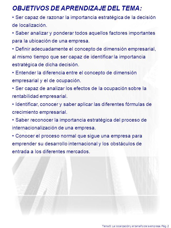 OBJETIVOS DE APRENDIZAJE DEL TEMA: