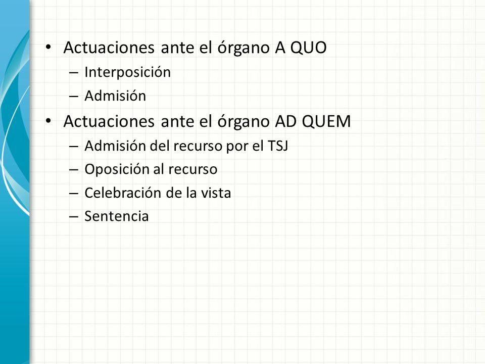Actuaciones ante el órgano A QUO
