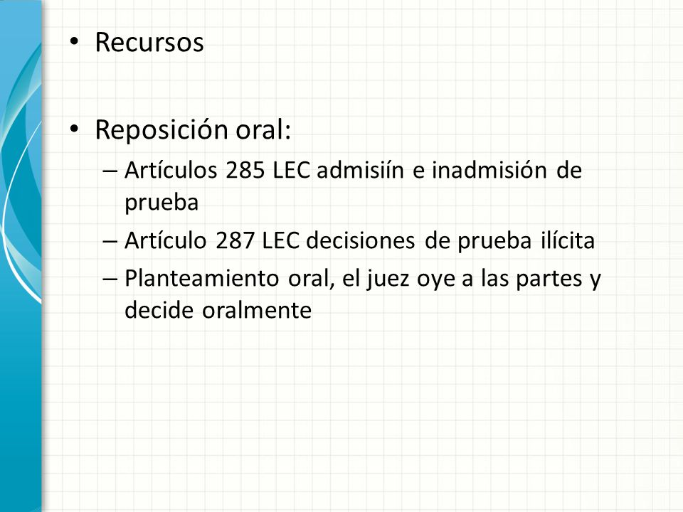 Recursos Reposición oral: