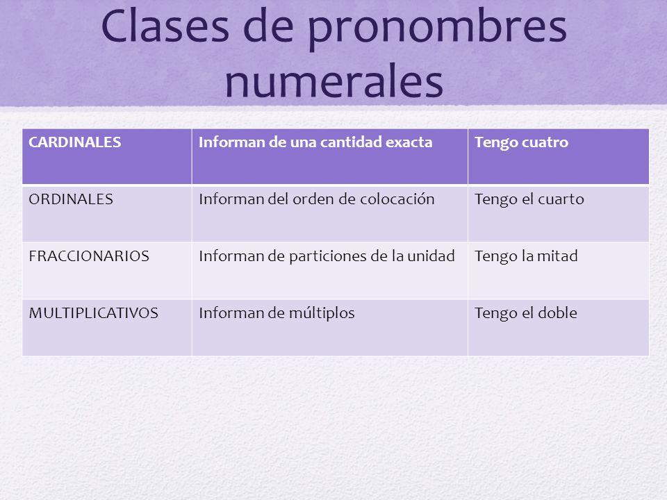 Clases de pronombres numerales