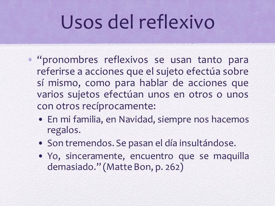 Usos del reflexivo