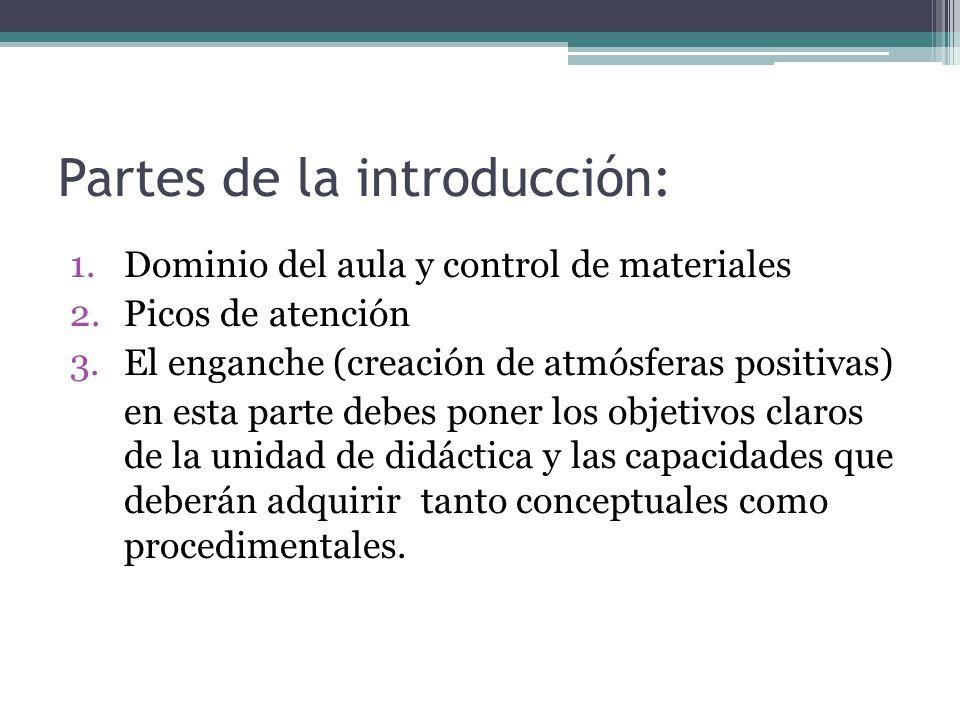 Partes de la introducción: