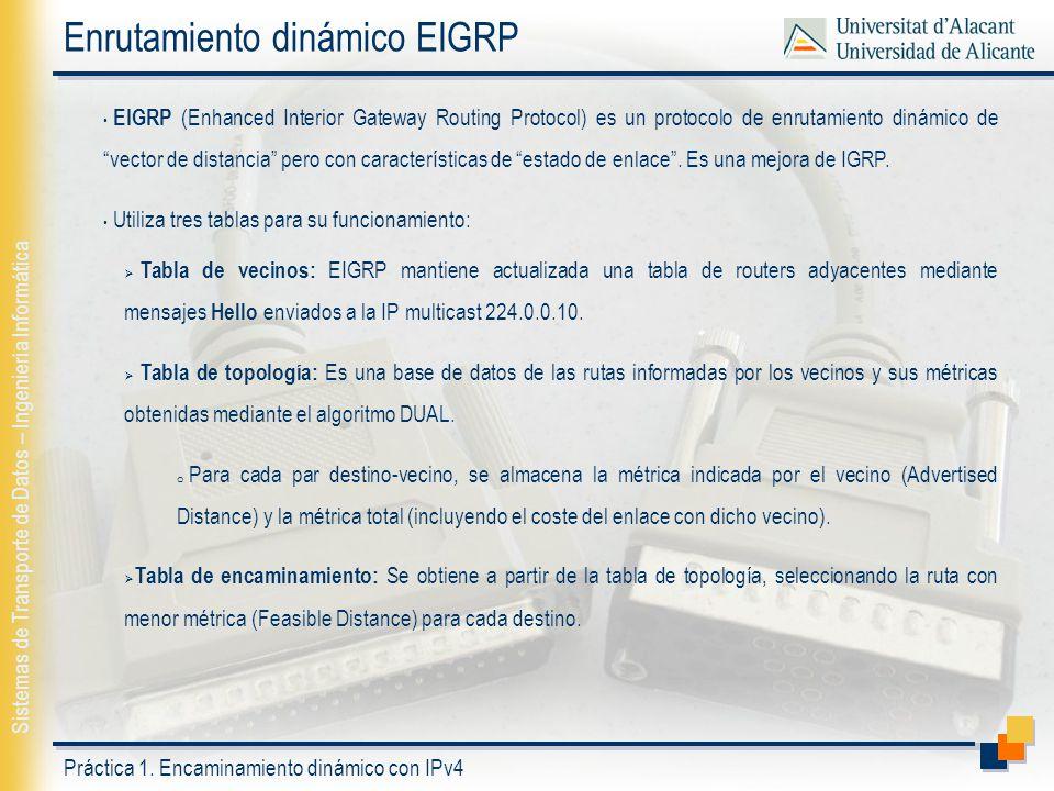 Enrutamiento dinámico EIGRP