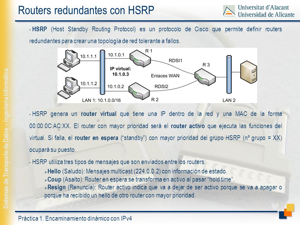 Routers redundantes con HSRP