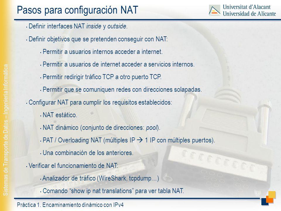 Pasos para configuración NAT