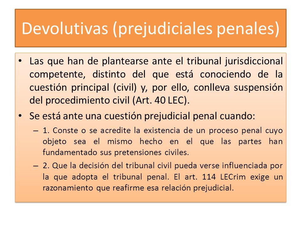 Devolutivas (prejudiciales penales)