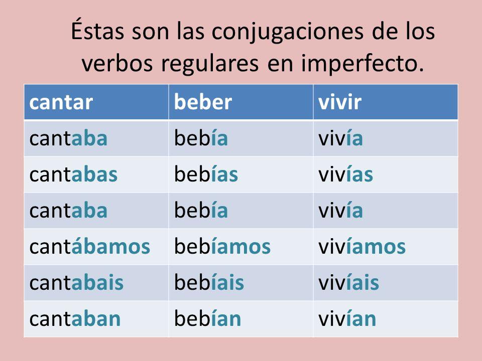 Éstas son las conjugaciones de los verbos regulares en imperfecto.