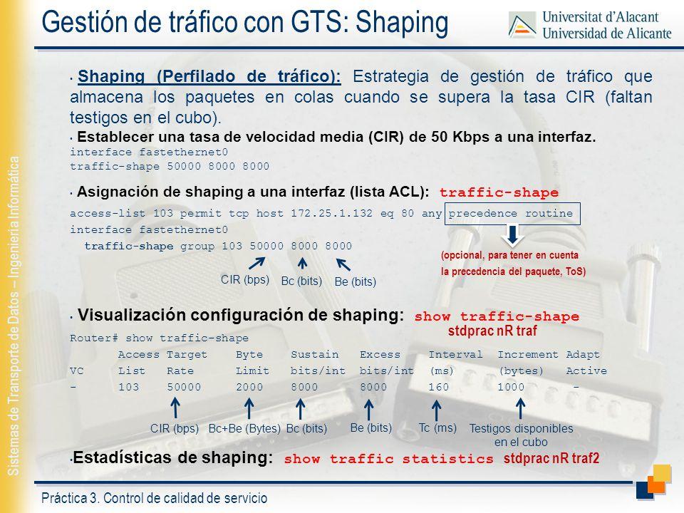 Gestión de tráfico con GTS: Shaping