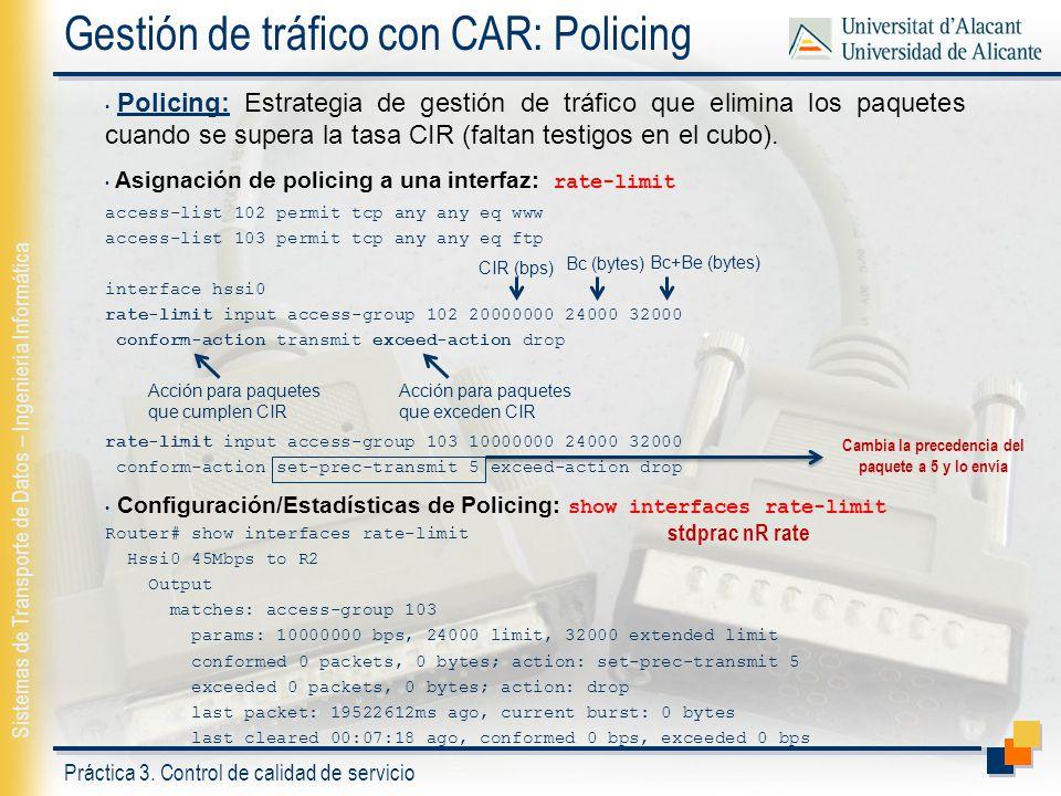 Gestión de tráfico con CAR: Policing