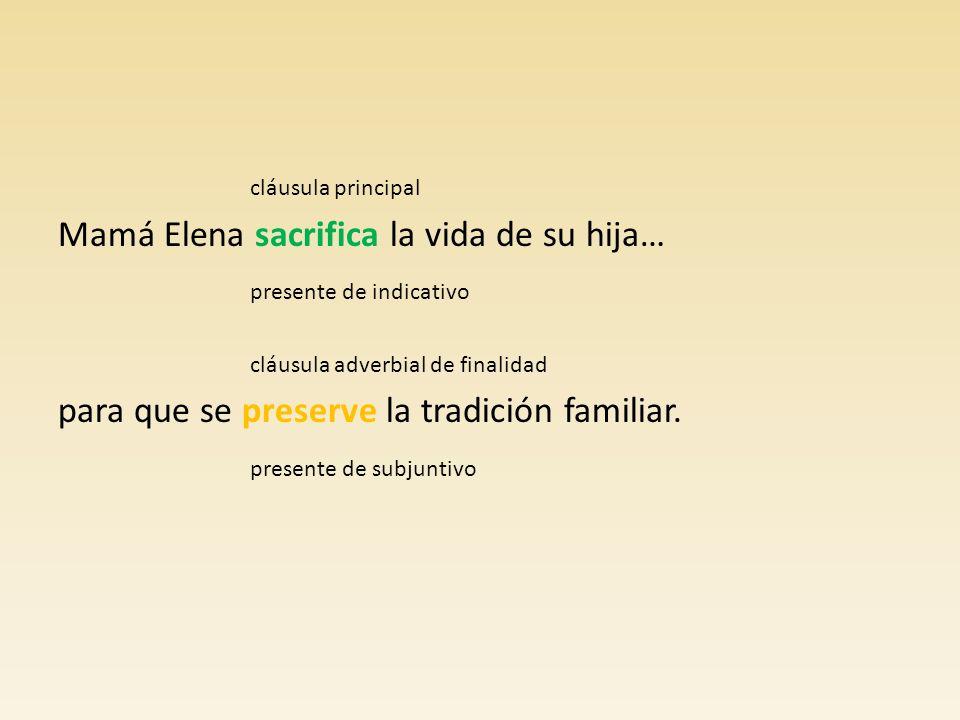 Mamá Elena sacrifica la vida de su hija… presente de indicativo