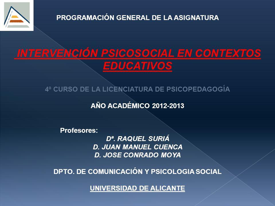 INTERVENCIÓN PSICOSOCIAL EN CONTEXTOS EDUCATIVOS