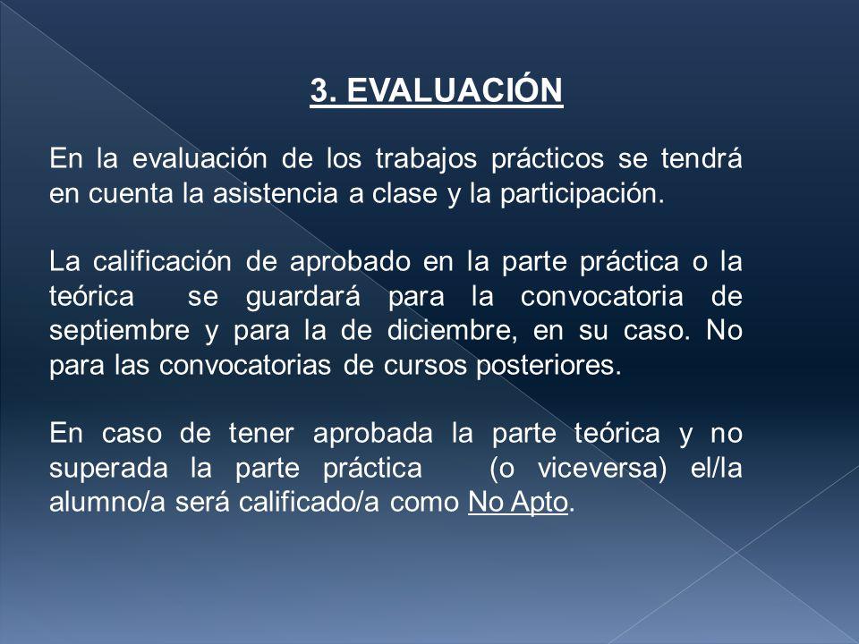 3. EVALUACIÓN En la evaluación de los trabajos prácticos se tendrá en cuenta la asistencia a clase y la participación.
