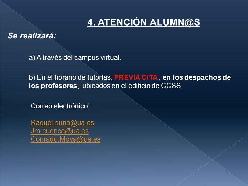 4. ATENCIÓN ALUMN@S Se realizará: a) A través del campus virtual.