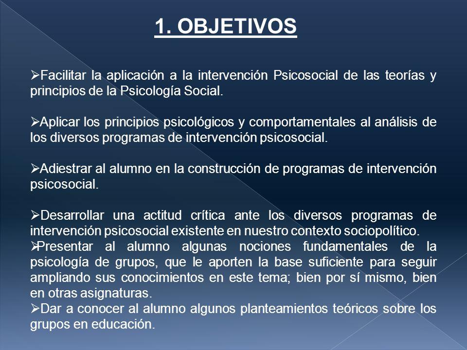 1. OBJETIVOS Facilitar la aplicación a la intervención Psicosocial de las teorías y principios de la Psicología Social.