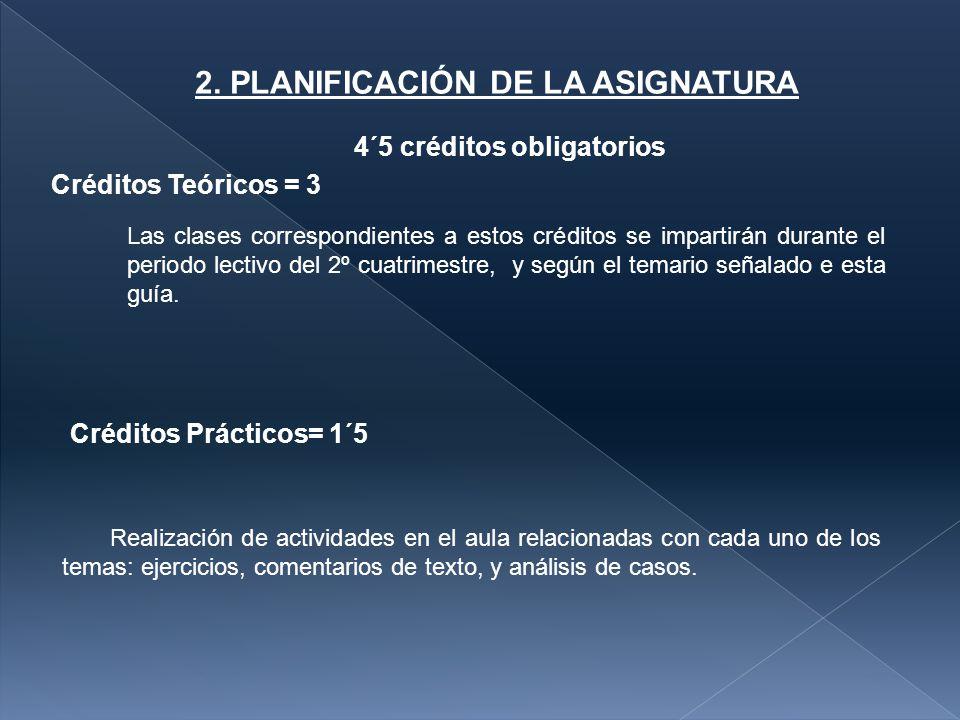 2. PLANIFICACIÓN DE LA ASIGNATURA
