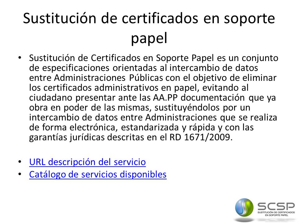 Sustitución de certificados en soporte papel