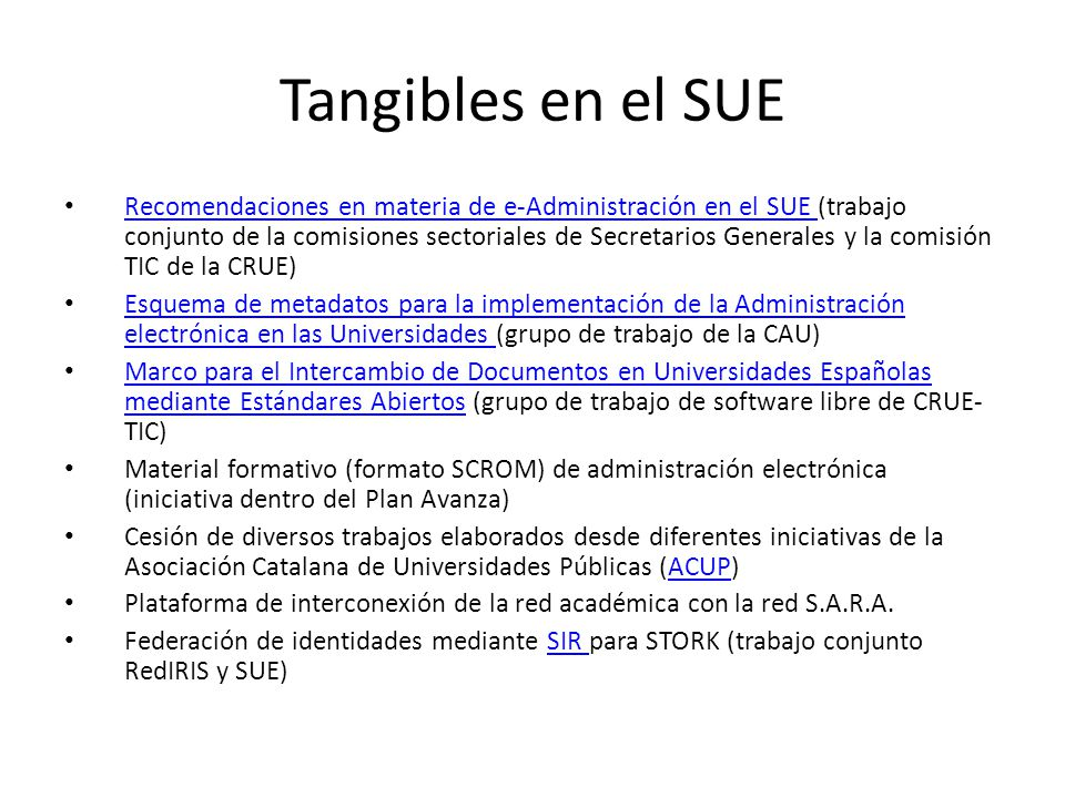 Tangibles en el SUE