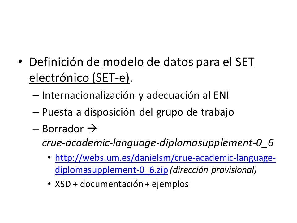 Definición de modelo de datos para el SET electrónico (SET-e).