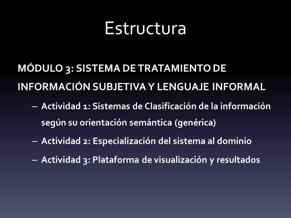 Estructura MÓDULO 3: SISTEMA DE TRATAMIENTO DE INFORMACIÓN SUBJETIVA Y LENGUAJE INFORMAL.