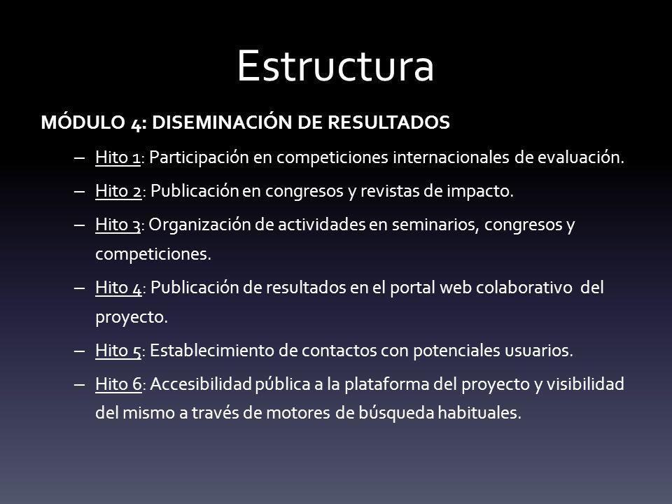 Estructura MÓDULO 4: DISEMINACIÓN DE RESULTADOS
