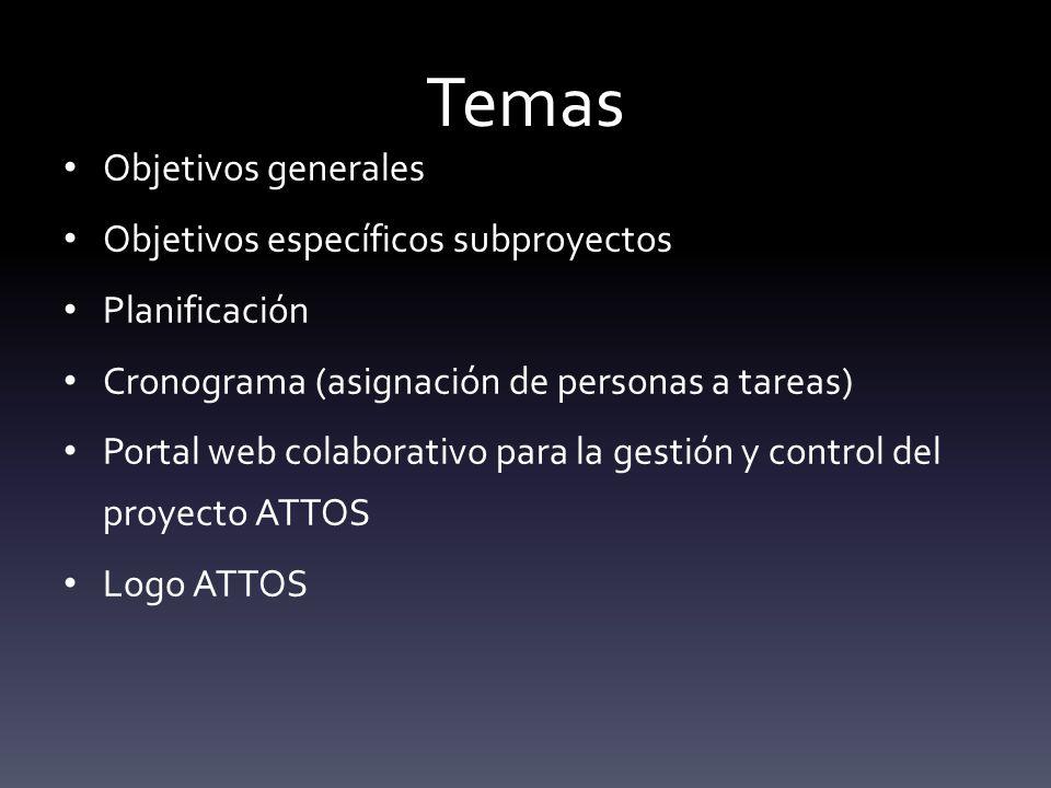 Temas Objetivos generales Objetivos específicos subproyectos