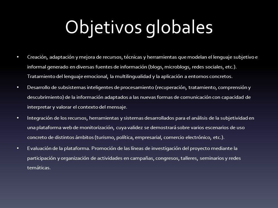 Objetivos globales