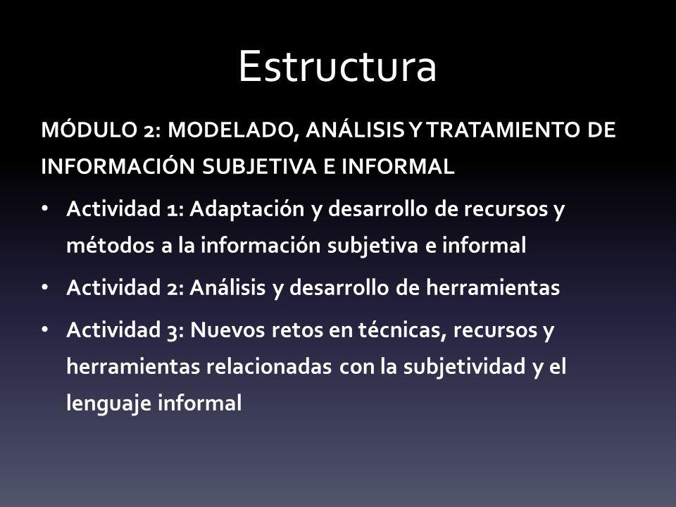 Estructura MÓDULO 2: MODELADO, ANÁLISIS Y TRATAMIENTO DE INFORMACIÓN SUBJETIVA E INFORMAL.