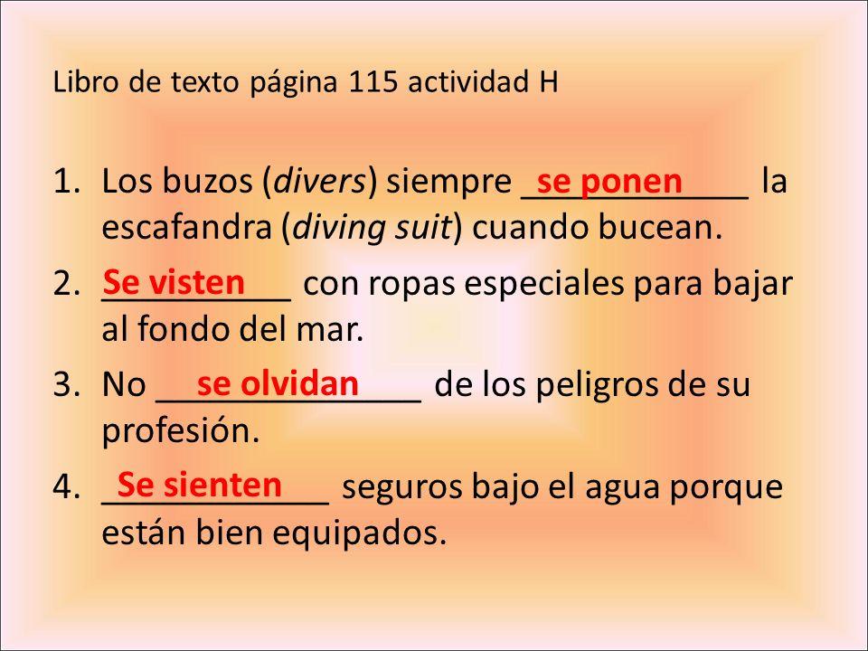 Libro de texto página 115 actividad H