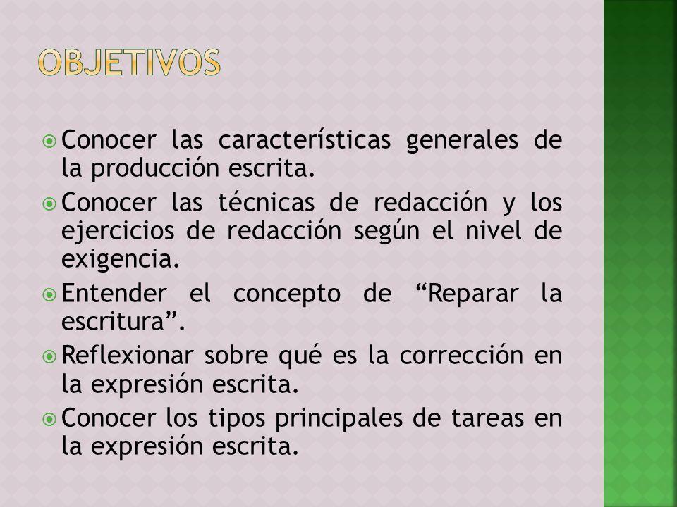 OBJETIVOS Conocer las características generales de la producción escrita.