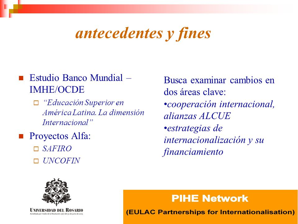 antecedentes y fines Estudio Banco Mundial – IMHE/OCDE