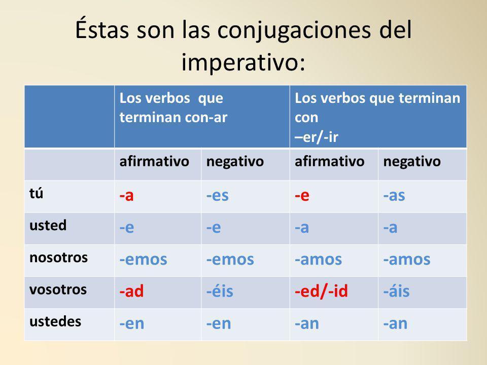 Éstas son las conjugaciones del imperativo: