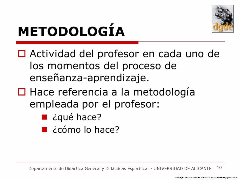 METODOLOGÍA Actividad del profesor en cada uno de los momentos del proceso de enseñanza-aprendizaje.