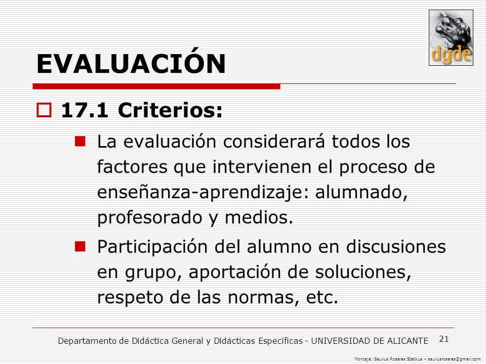 EVALUACIÓN 17.1 Criterios: