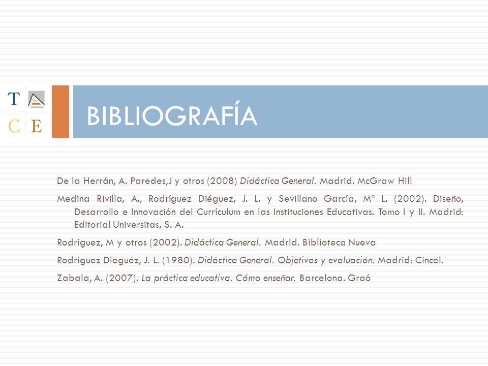 BIBLIOGRAFÍA De la Herrán, A. Paredes,J y otros (2008) Didáctica General. Madrid. McGraw Hill.