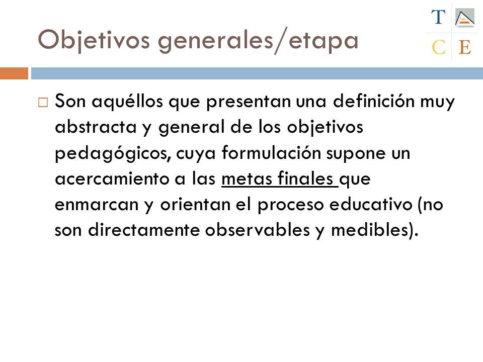 Objetivos generales/etapa