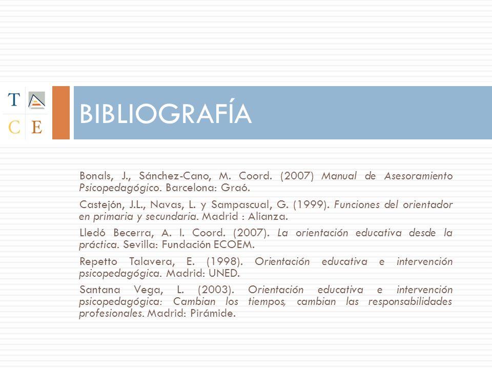 BIBLIOGRAFÍA Bonals, J., Sánchez-Cano, M. Coord. (2007) Manual de Asesoramiento Psicopedagógico. Barcelona: Graó.