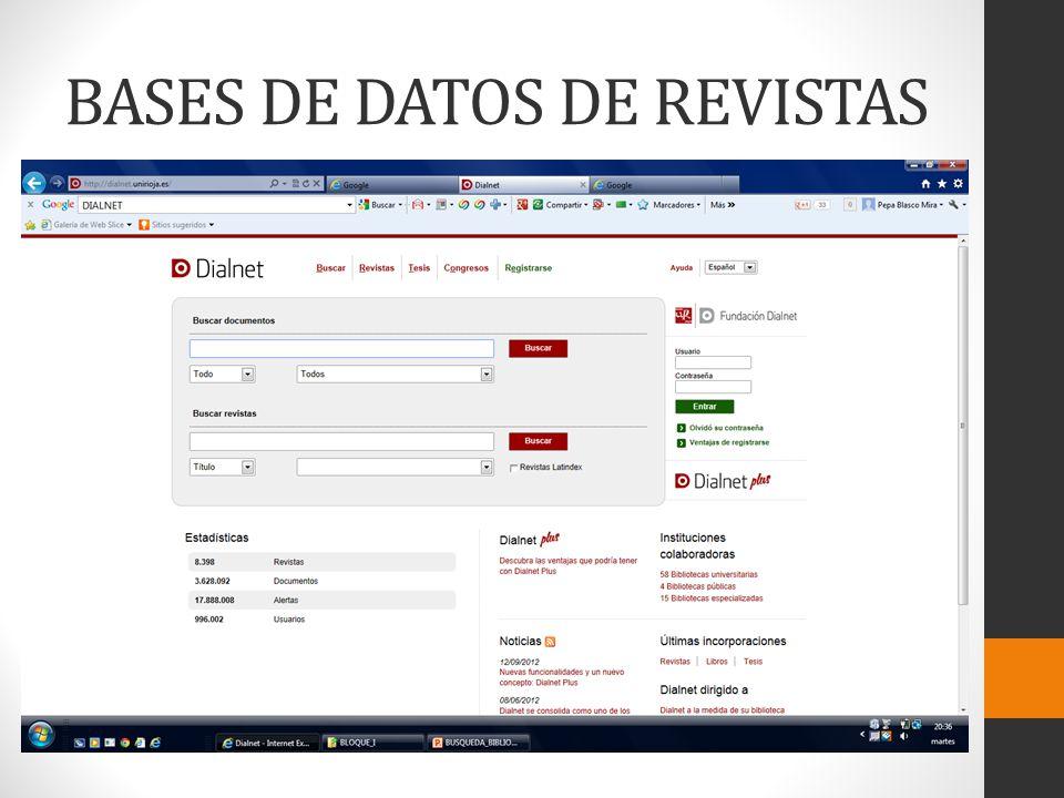 BASES DE DATOS DE REVISTAS
