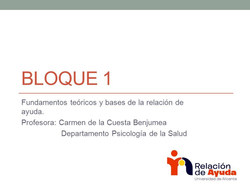 Bloque 1 Fundamentos teóricos y bases de la relación de ayuda.