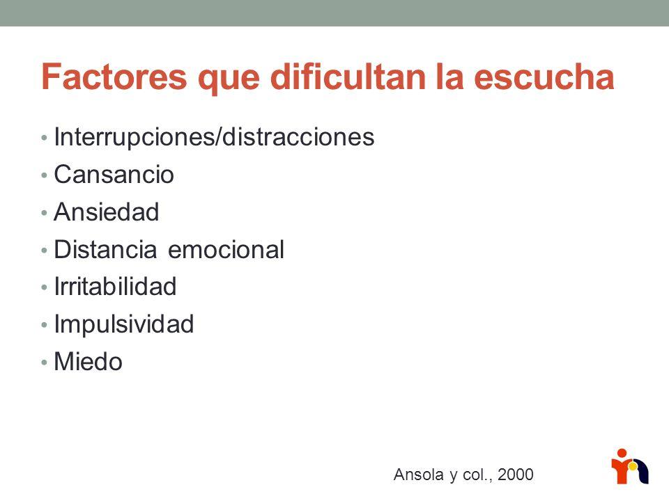 Factores que dificultan la escucha