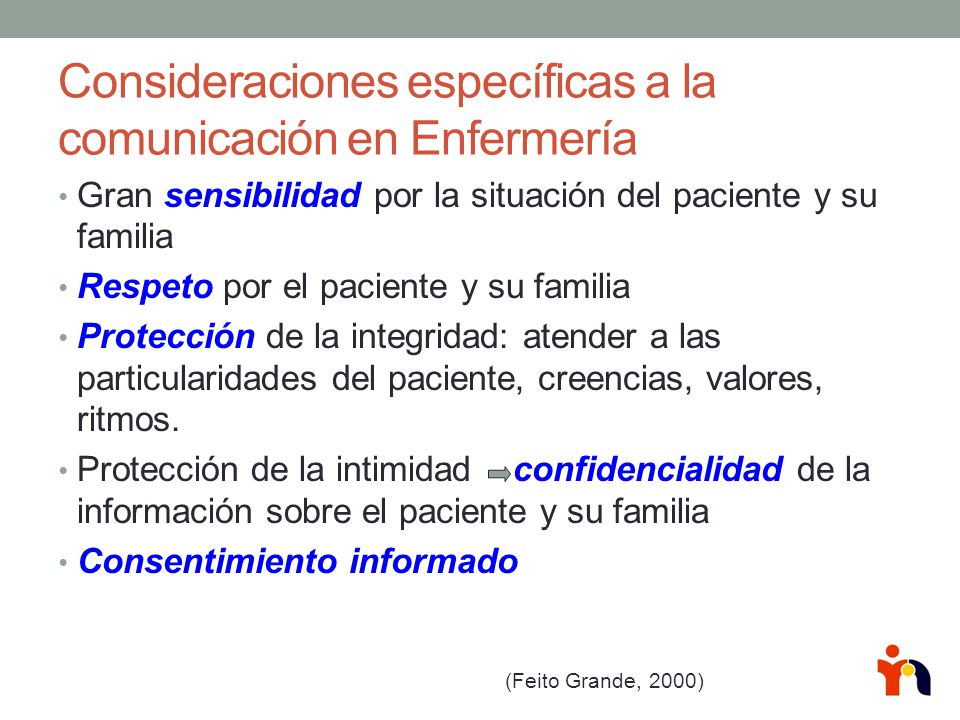 Consideraciones específicas a la comunicación en Enfermería
