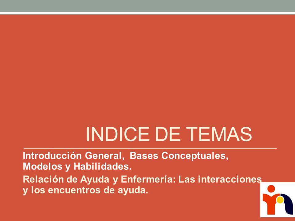 INDICE DE TEMAS Introducción General, Bases Conceptuales, Modelos y Habilidades.