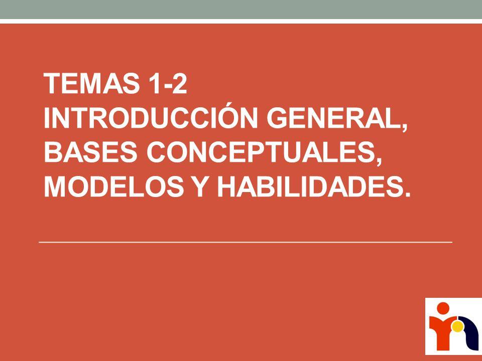 Temas 1-2 Introducción General, Bases Conceptuales, Modelos y Habilidades.