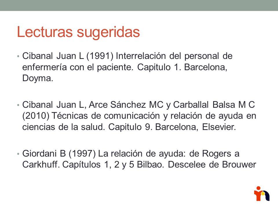 Lecturas sugeridas Cibanal Juan L (1991) Interrelación del personal de enfermería con el paciente. Capitulo 1. Barcelona, Doyma.