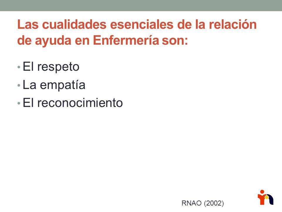 Las cualidades esenciales de la relación de ayuda en Enfermería son: