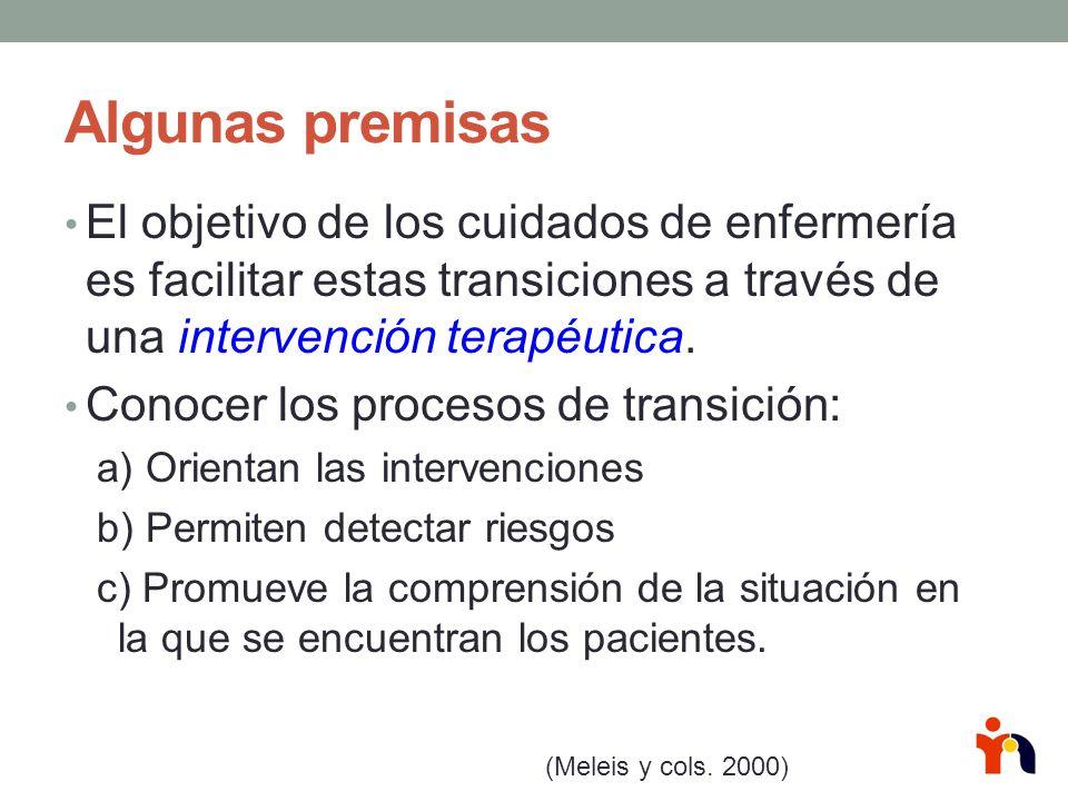 Algunas premisas El objetivo de los cuidados de enfermería es facilitar estas transiciones a través de una intervención terapéutica.