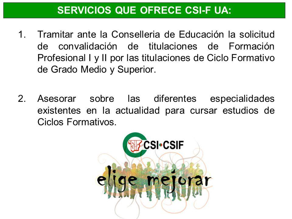 SERVICIOS QUE OFRECE CSI-F UA: