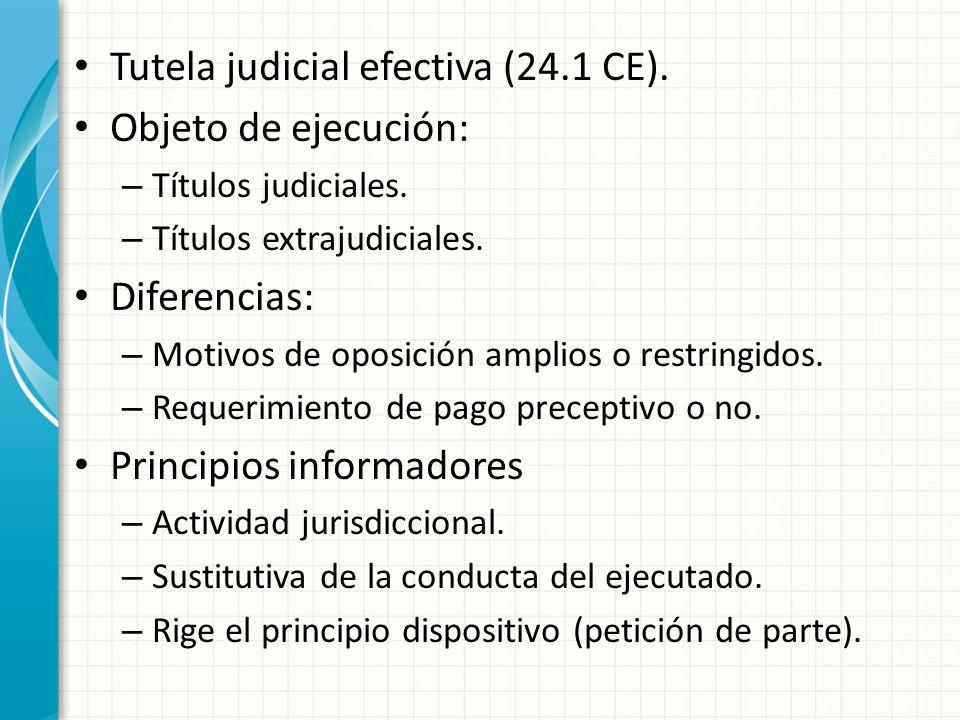 Tutela judicial efectiva (24.1 CE). Objeto de ejecución: