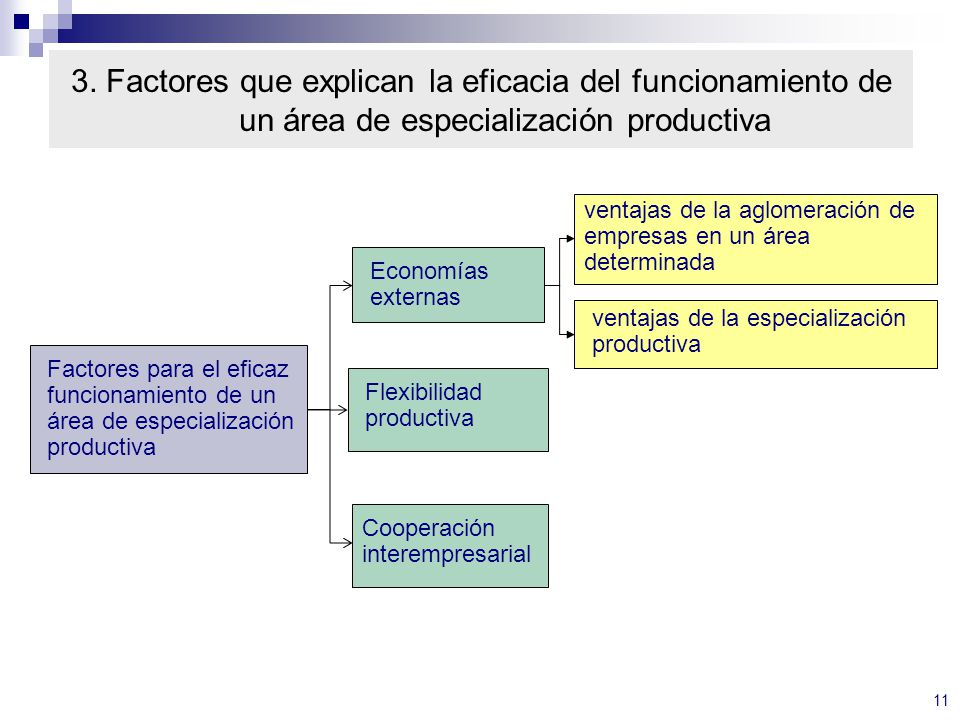 3. Factores que explican la eficacia del funcionamiento de un área de especialización productiva